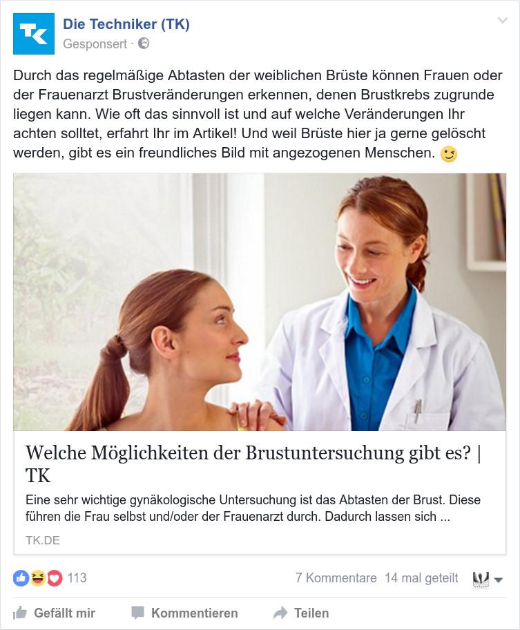 Anzeige der TK zum Thema Brustkrebs: Brüste impossible